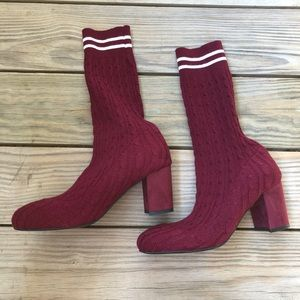 Catherine Malandrino Pulley Maroon Sock Bootie 7.5